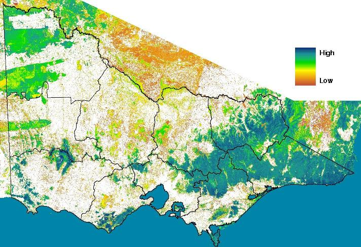 Map of vegetation condition across Victoria (low: brown, high: blue)