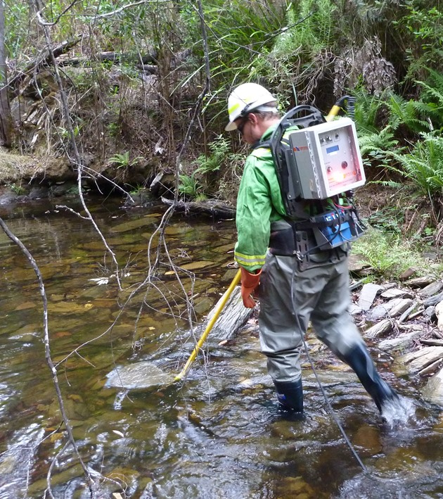 Electrofishing with a backpack unit
