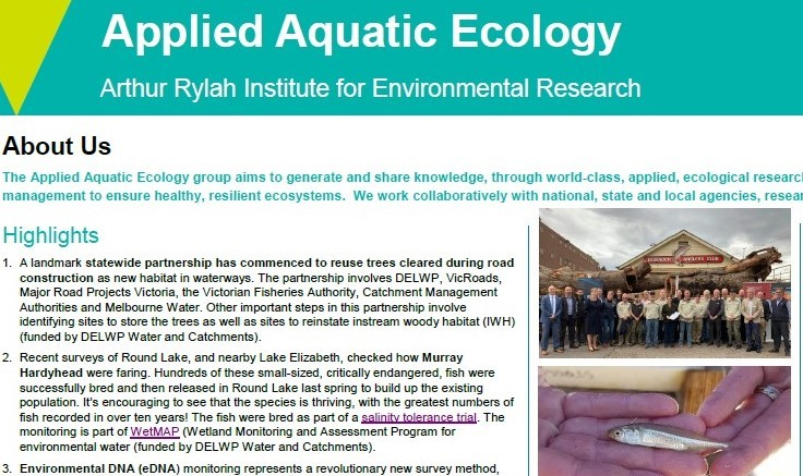 Applied Aquatic Ecology Update Autumn 2019